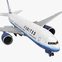 Boeing 777 200LR United Airlines Rigged 3D Model