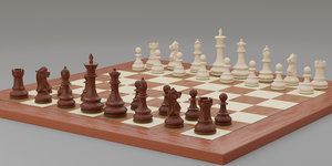 3d chess pieces rigged posed model