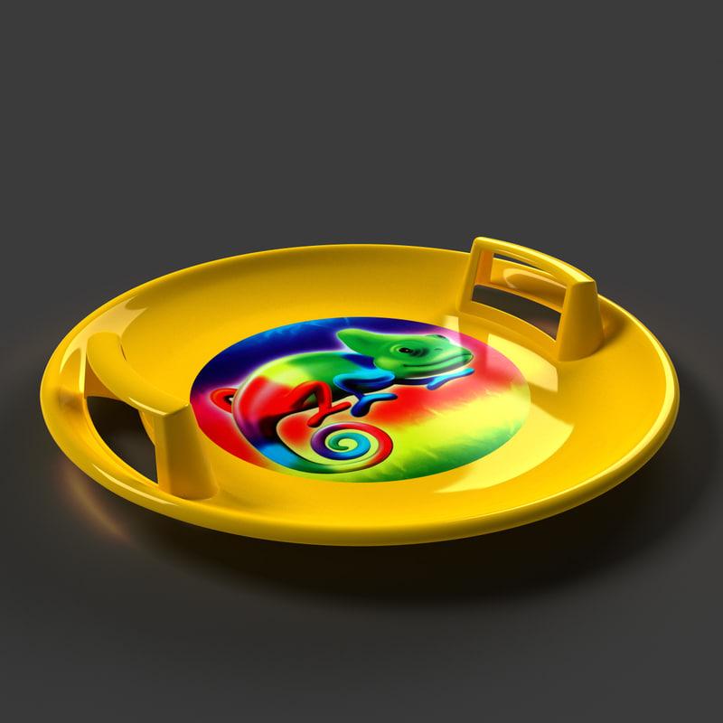 plastic steerable sled plate 3d model