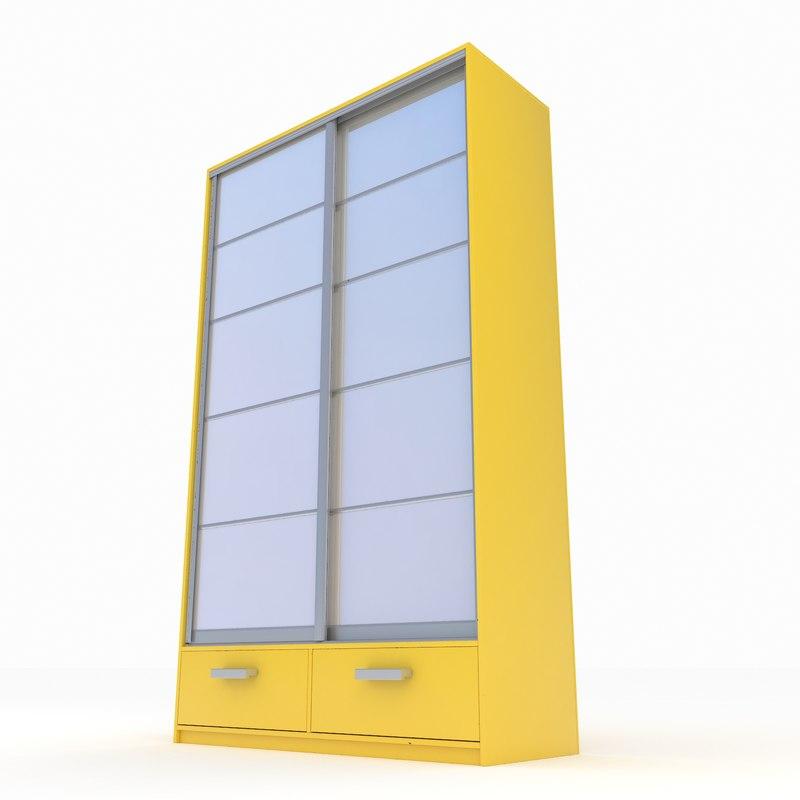 3d wardrobe case-compartment sliding model