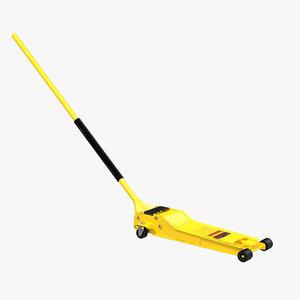 3d model floor jack yellow