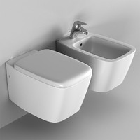 toilet and bidet set