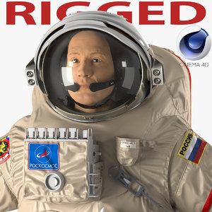 russian astronaut wearing space suit 3d c4d