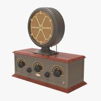 3d art deco radio speaker