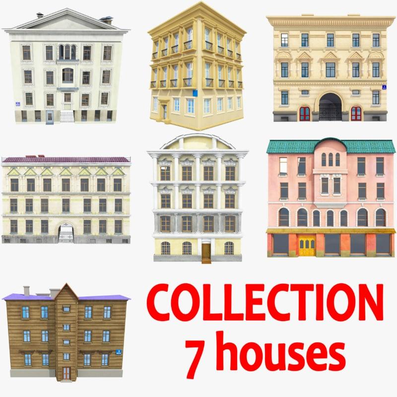 3d houses background windows model
