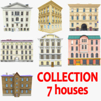 3d houses background windows model