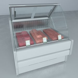 custom refrigerated showcase minced 3d model