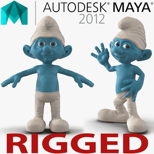 3d smurf rigged model