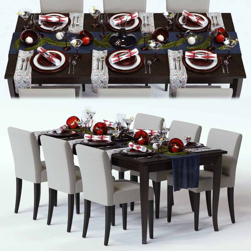 3d model red shimmer holiday table