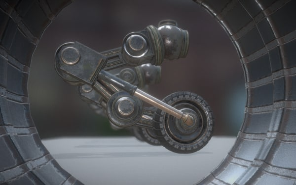 3d old hydraulic suspension tires model