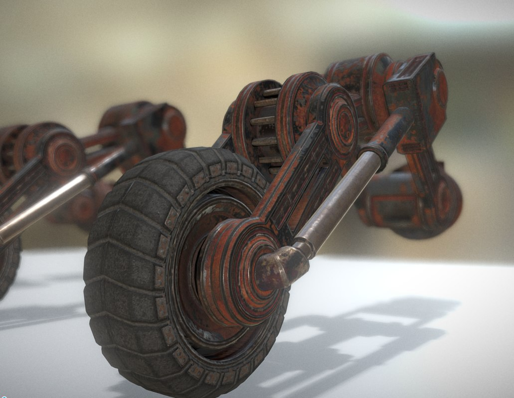 rusty hydraulic suspension tires 3d model