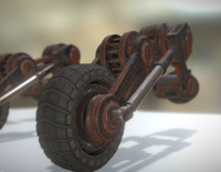 rusty hydraulic suspension tires 3d model