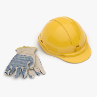 gloves hard hat 3d max
