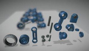 blue hydraulic suspension tires 3d model
