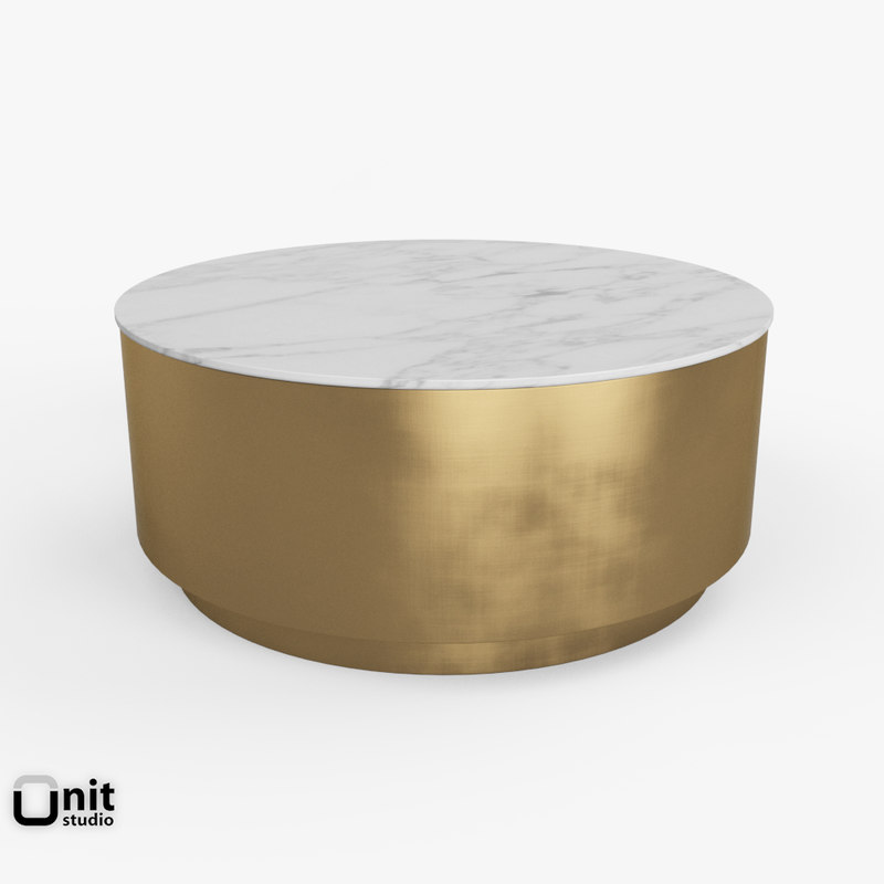 Max Marble Metal Drum Coffee Table