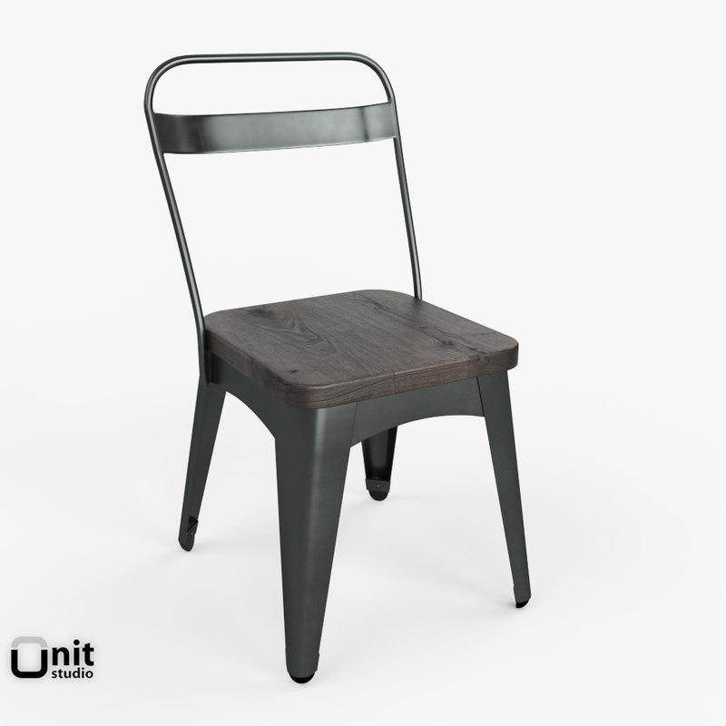 steel metal xavier dining chair 3d model