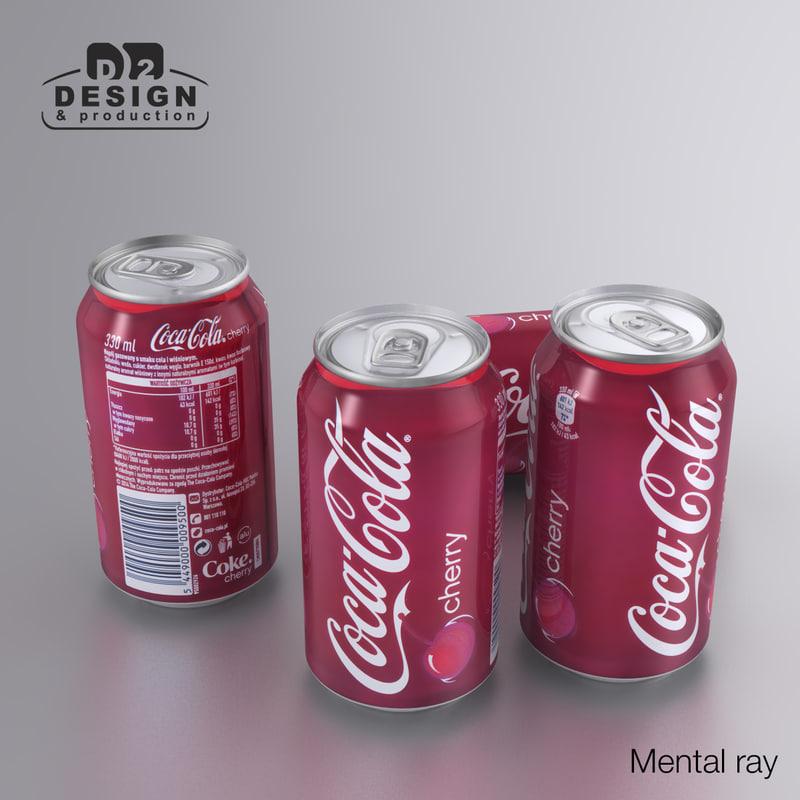 beverage coca cherry 330ml 3d max
