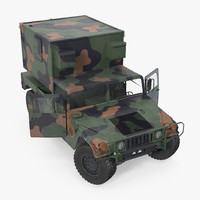 shelter hmmwv m1037 rigged 3d model