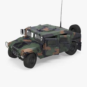 3d humvee m1151 rigged camo model