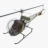 3d light helicopter bell 47 model