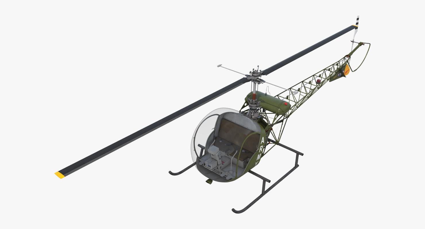 3d light helicopter bell 47 model