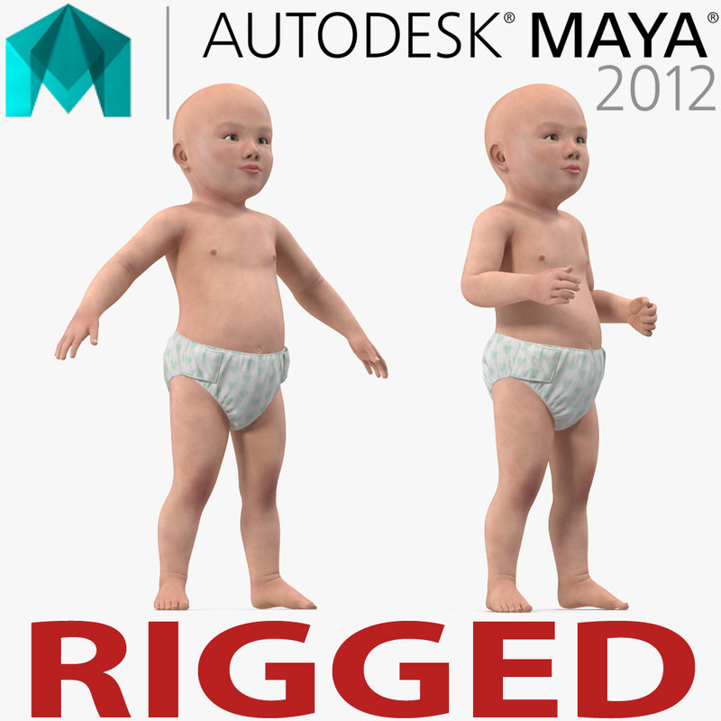3d asian baby rigged model