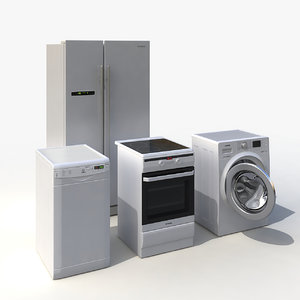3d indesit kitchen appliances set model