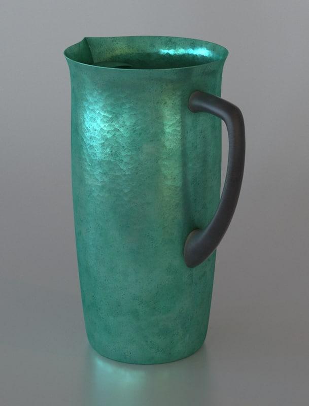 vintage aluminum water jar 3d model