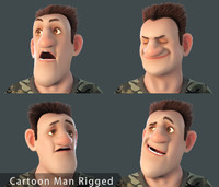 cartoon man rigged toon obj