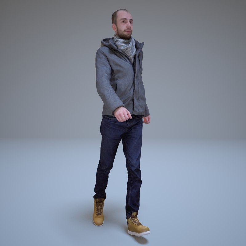 3d model casual man walking people