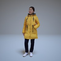 3d model asian women winter people human