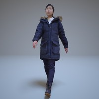 3d model japanese girl walking people