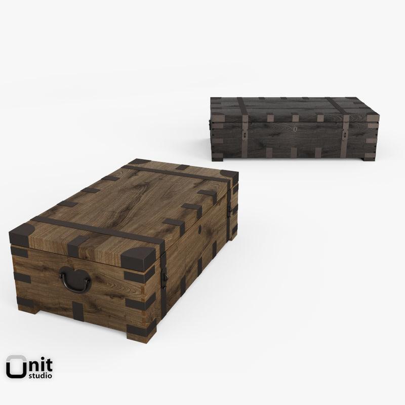 3d model heirloom trunk coffee table