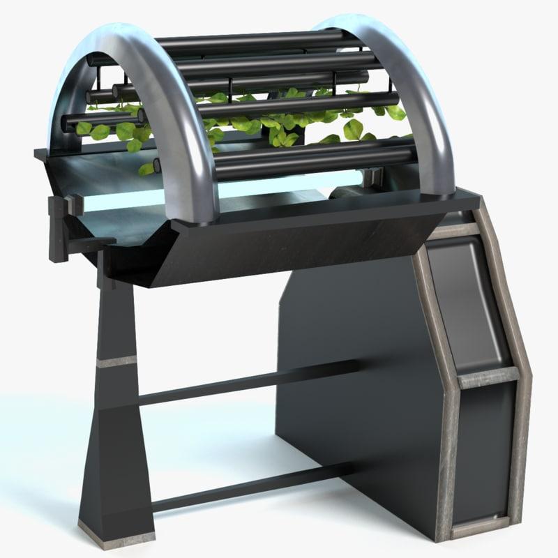 sci-fi hydroponics 3d model