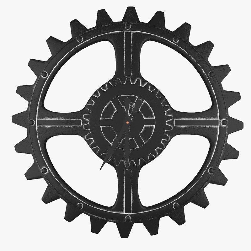 3d clock cog wheel model