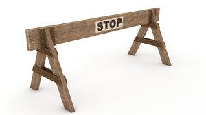 barricade wooden 3d model