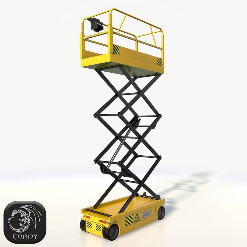 realistic scissor lift pose 3d 3ds