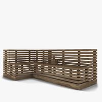 sauna bench 3d model