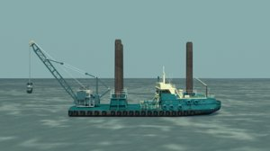 dredger barge 3d model