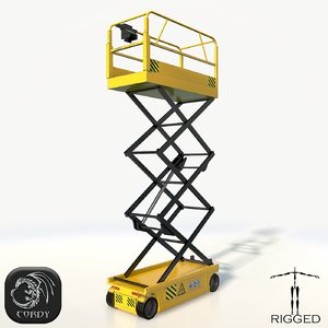 realistic scissor lift rigged 3d model