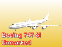 3d boeing 747-8i unmarked model