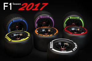 3d model tires pirelli f1 2017
