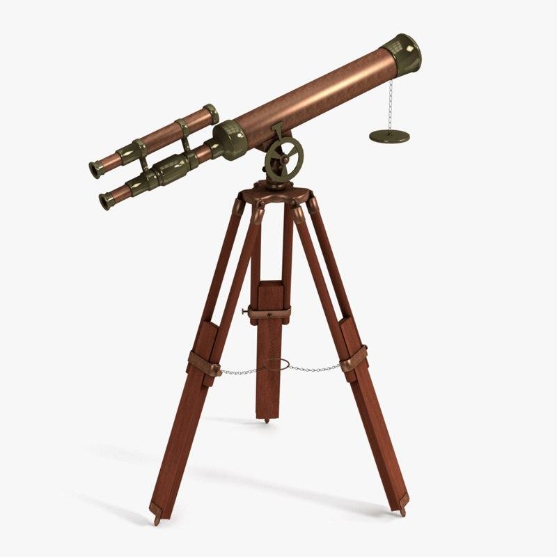 3d model antique telescope