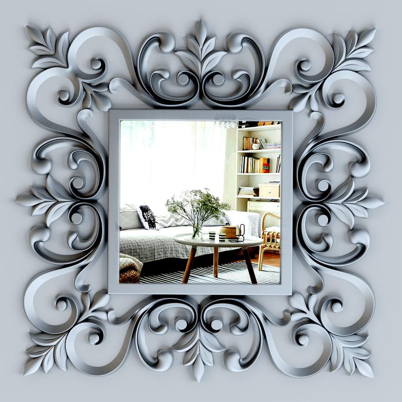 3d ornate silver square mirror model