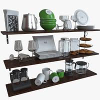 ikea kitchen bowls plates 3d model