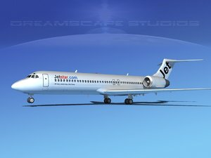 3d model turbines boeing 717-200 jet