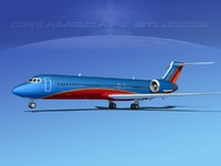 3d model turbines boeing 717-200 airliners