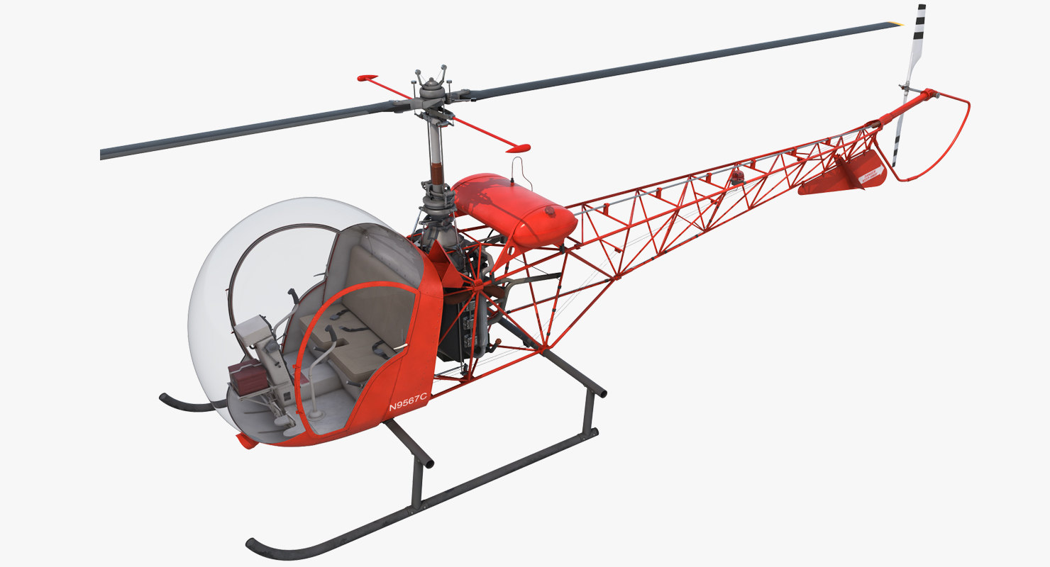 light helicopter bell 47 3ds