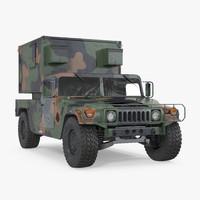 3d shelter hmmwv m1037 camo model