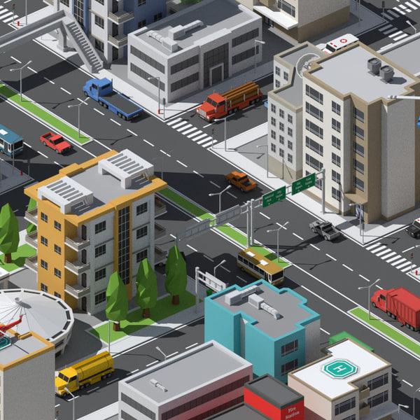 3d model simplepoly urban assets -